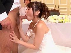 【有村千佳】結婚式中に美しい新婦が男たちとおかまいなしにパコパコ着衣SEX!